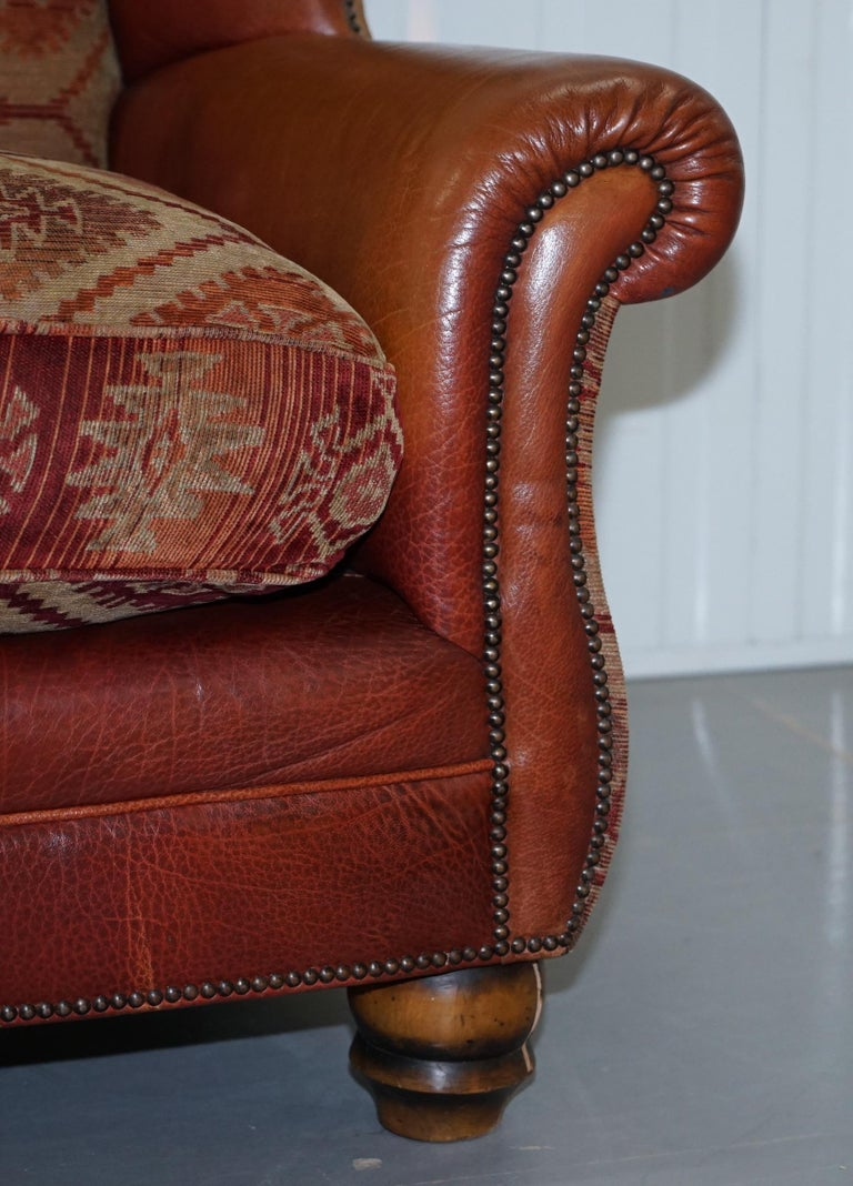 Tetrad Eastwood Brown Leather and Kilim Upholstery Armchair Lovely For Sale 4