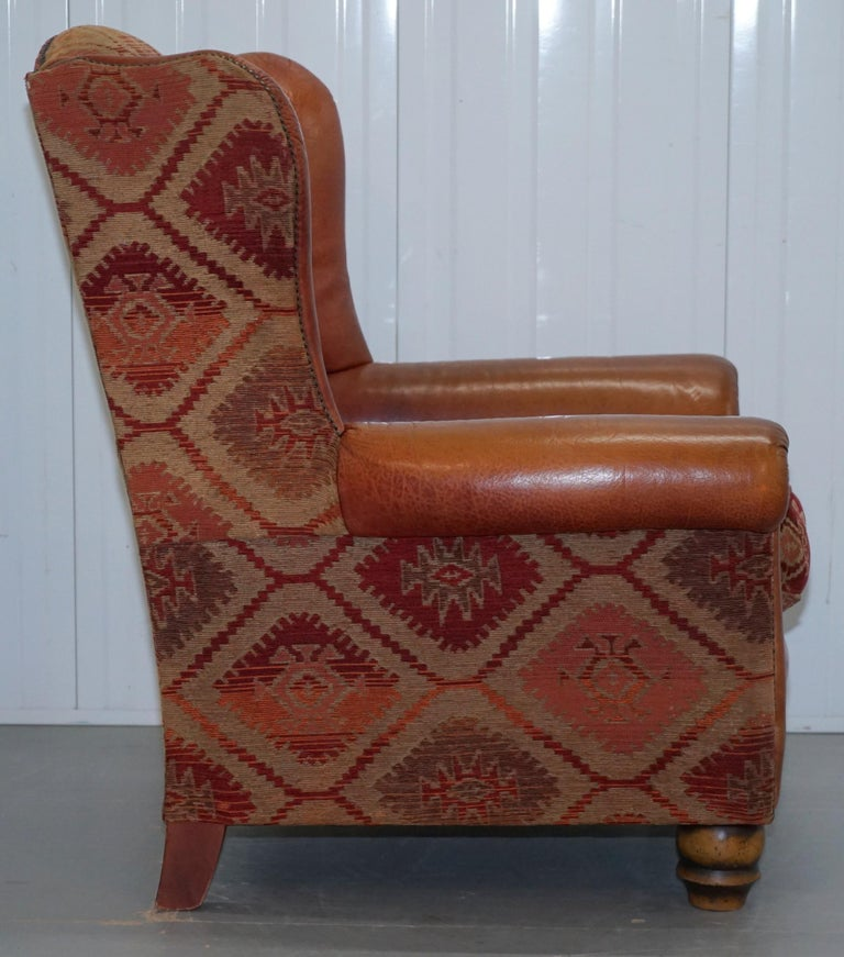 Tetrad Eastwood Brown Leather and Kilim Upholstery Armchair Lovely For Sale 6