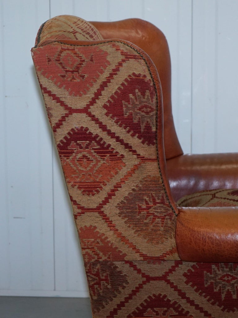 Tetrad Eastwood Brown Leather and Kilim Upholstery Armchair Lovely For Sale 8