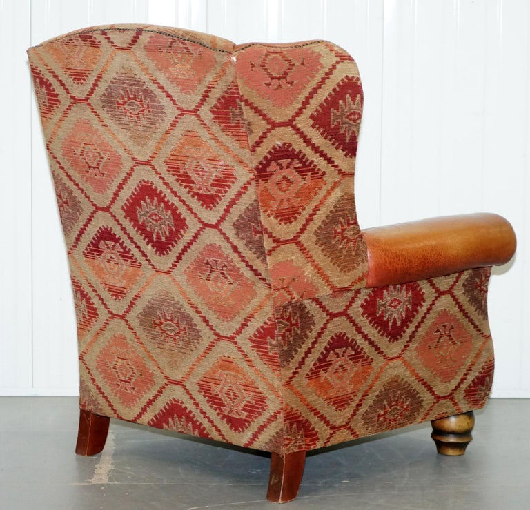 Tetrad Eastwood Brown Leather and Kilim Upholstery Armchair Lovely For Sale 9