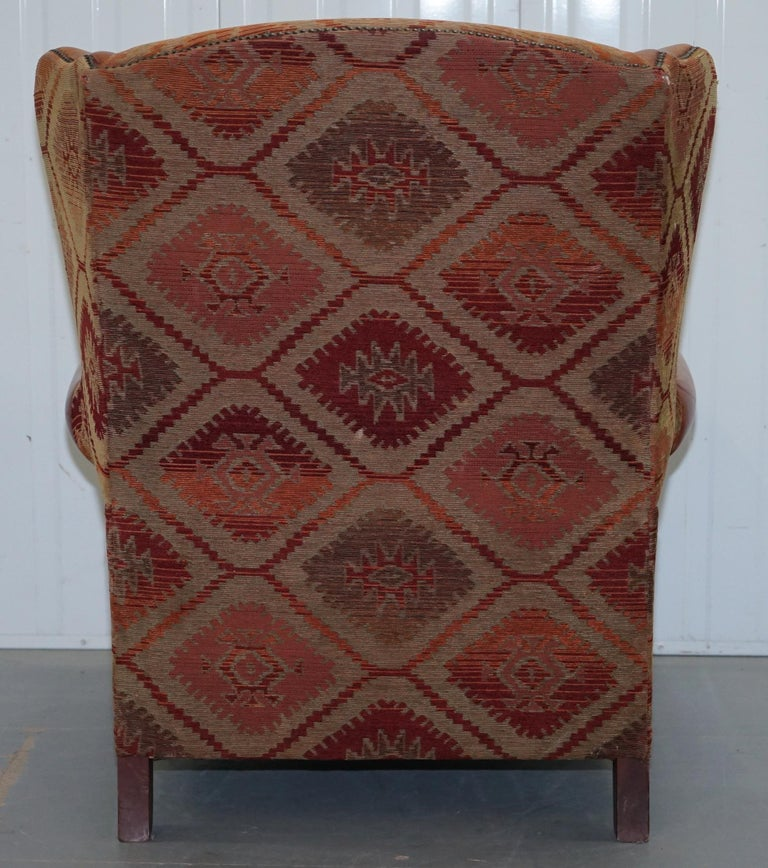 Tetrad Eastwood Brown Leather and Kilim Upholstery Armchair Lovely For Sale 10