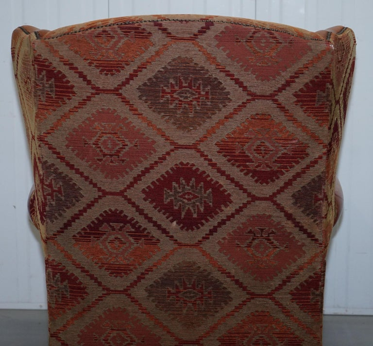 Tetrad Eastwood Brown Leather and Kilim Upholstery Armchair Lovely For Sale 11