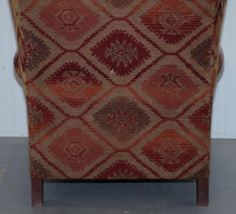 Tetrad Eastwood Brown Leather and Kilim Upholstery Armchair Lovely For Sale 12