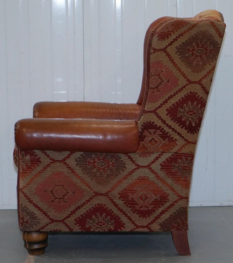 Tetrad Eastwood Brown Leather and Kilim Upholstery Armchair Lovely For Sale 13
