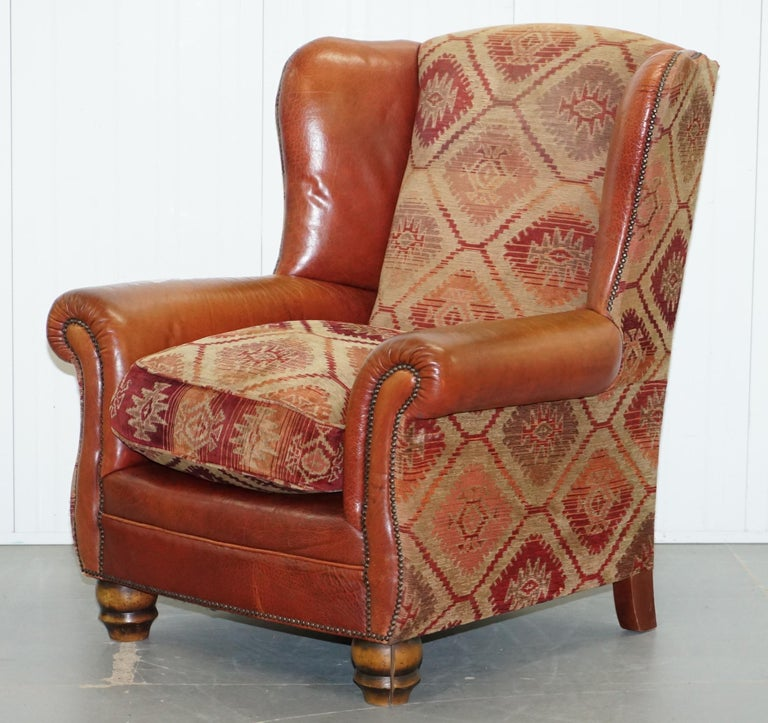 Modern Tetrad Eastwood Brown Leather and Kilim Upholstery Armchair Lovely For Sale