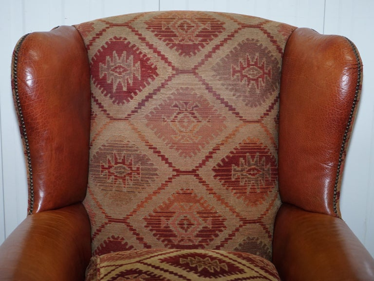 English Tetrad Eastwood Brown Leather and Kilim Upholstery Armchair Lovely For Sale