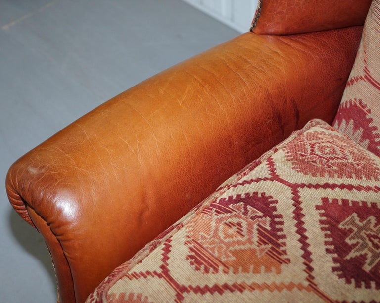Tetrad Eastwood Brown Leather and Kilim Upholstery Armchair Lovely For Sale 1