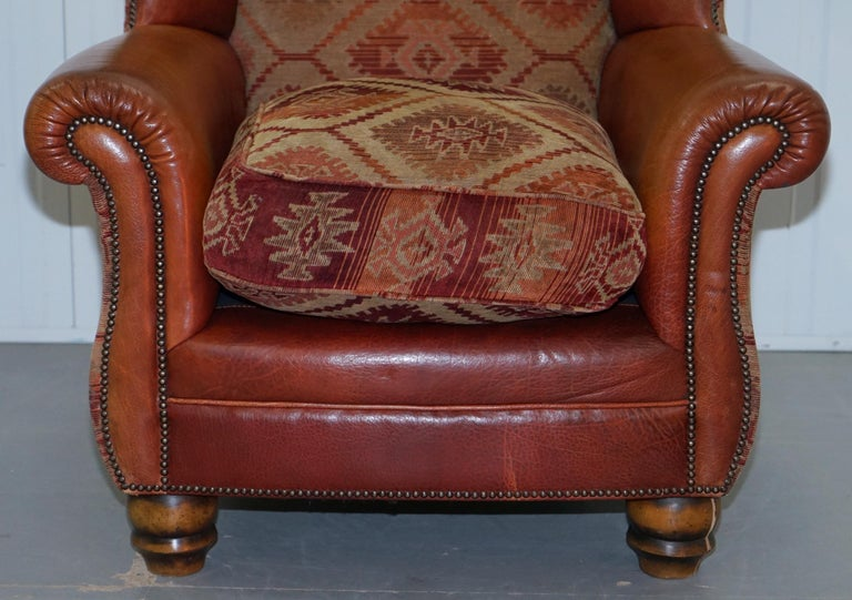 Tetrad Eastwood Brown Leather and Kilim Upholstery Armchair Lovely For Sale 2