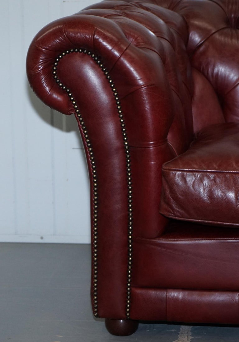 Tetrad England Reddish Brown Leather Chesterfield Sofa Part of Suite For Sale 4