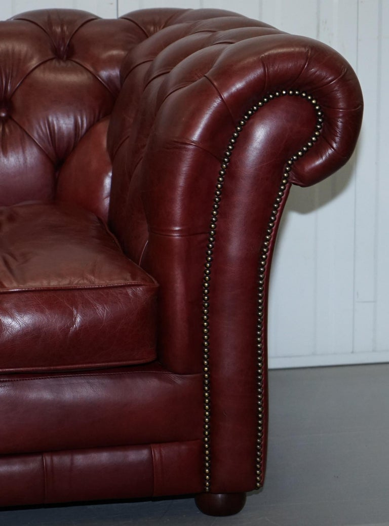 Tetrad England Reddish Brown Leather Chesterfield Sofa Part of Suite For Sale 5
