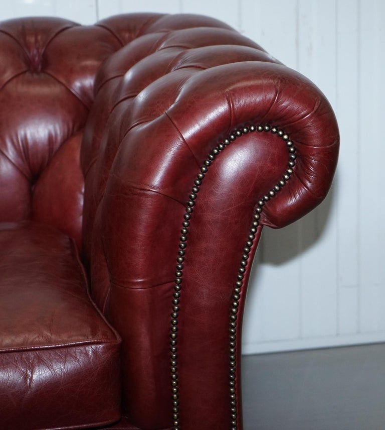 Tetrad England Reddish Brown Leather Chesterfield Sofa Part of Suite For Sale 6