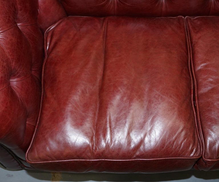 Tetrad England Reddish Brown Leather Chesterfield Sofa Part of Suite For Sale 9