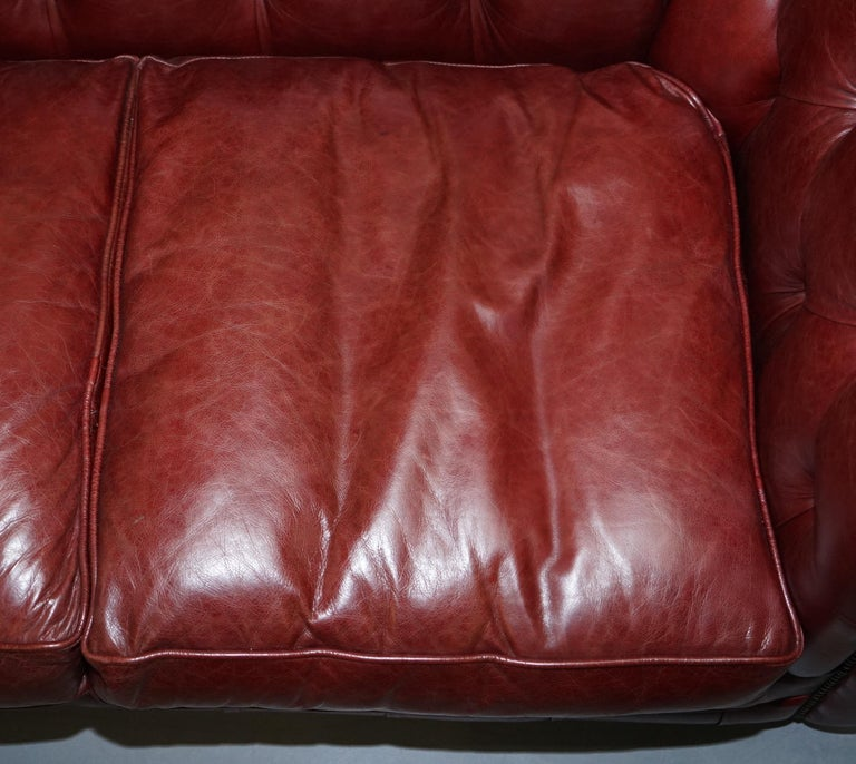 Tetrad England Reddish Brown Leather Chesterfield Sofa Part of Suite For Sale 10