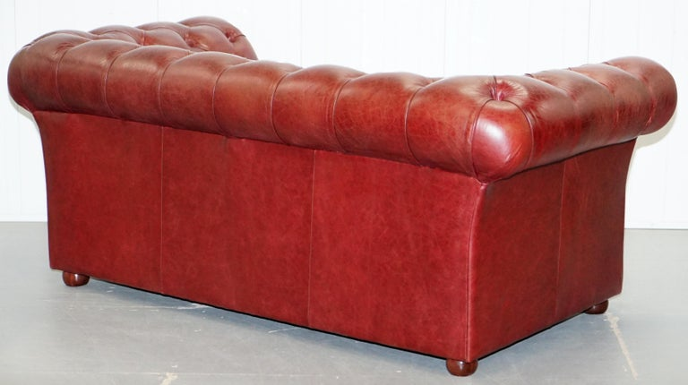 Tetrad England Reddish Brown Leather Chesterfield Sofa Part of Suite For Sale 12