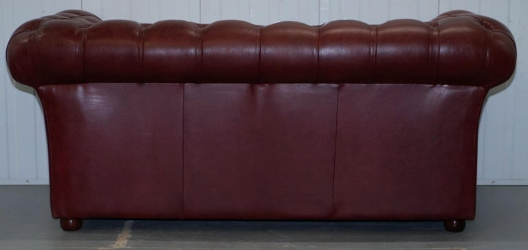 Tetrad England Reddish Brown Leather Chesterfield Sofa Part of Suite For Sale 13