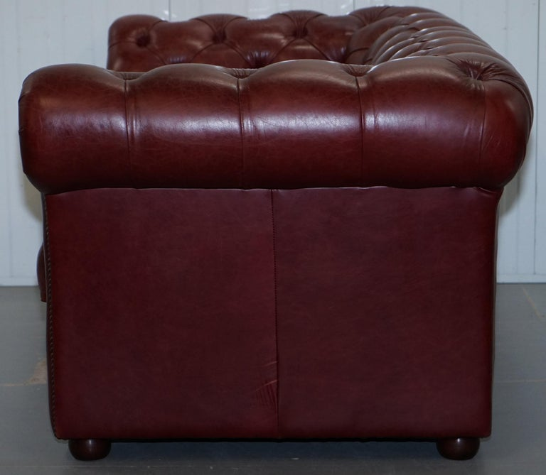 Tetrad England Reddish Brown Leather Chesterfield Sofa Part of Suite For Sale 14