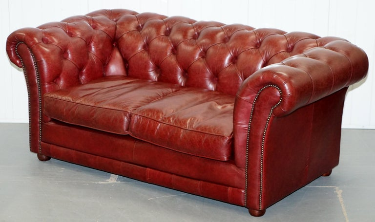 English  Tetrad England Reddish Brown Leather Chesterfield Sofa Part of Suite For Sale
