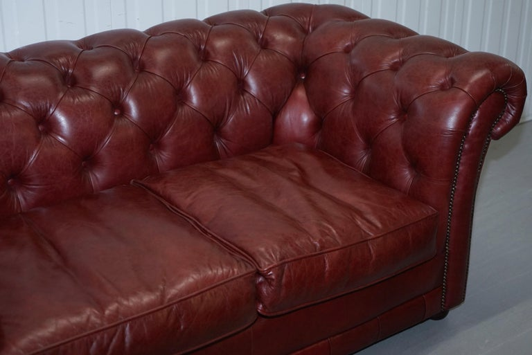 Tetrad England Reddish Brown Leather Chesterfield Sofa Part of Suite In Good Condition For Sale In London, GB
