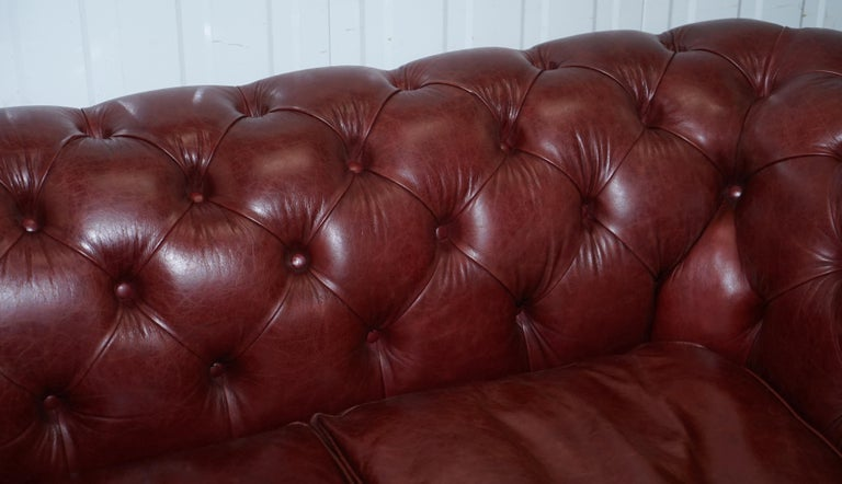 Tetrad England Reddish Brown Leather Chesterfield Sofa Part of Suite For Sale 1