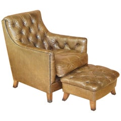 Tetrad Heritage Brown Leather Chesterfield Club Armchair & Matching Footstool