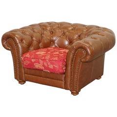 Tetrad Made in England Brown Leather Chesterfield Armchair Part of Full Suite