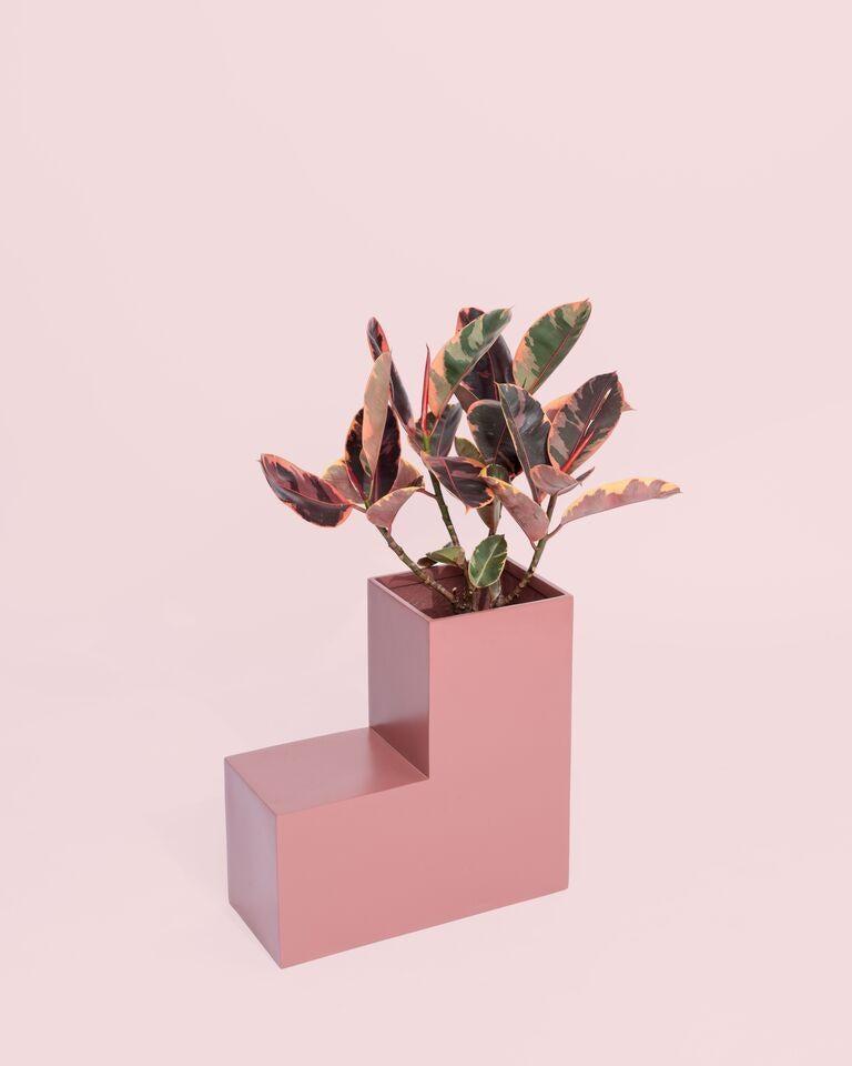 Modern Tetris Planter, Rose Pink Fiberglass Planters For Sale
