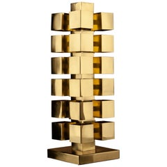Tetris Sculptural Desk Table Lamp, Solid Brass, Florence Manufacturing