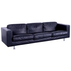 Teun van Zanten Designer Sofa Black Leather Couch Three-Seat