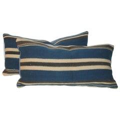 Tex Coco Mexican Indian Weaving Bolster Pillows, Pair