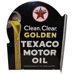 Texaco Golden Motor Oil D.S. Porcelain Advertising Flange Sign, 1930s