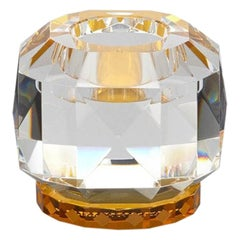 Texas Amber Crystal T-Light, Hand-Sculpted Contemporary Crystal