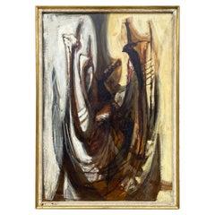 "Texas Artist Cecil Casebier ""Jawbone"" 1957 Abstract Oil on Board"