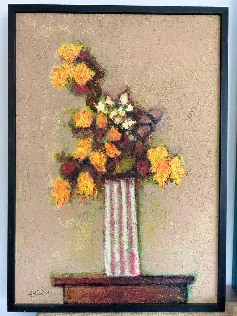 American Texas Artist David Pryor Adickes, Floral Still Life / Mixed Media on Board