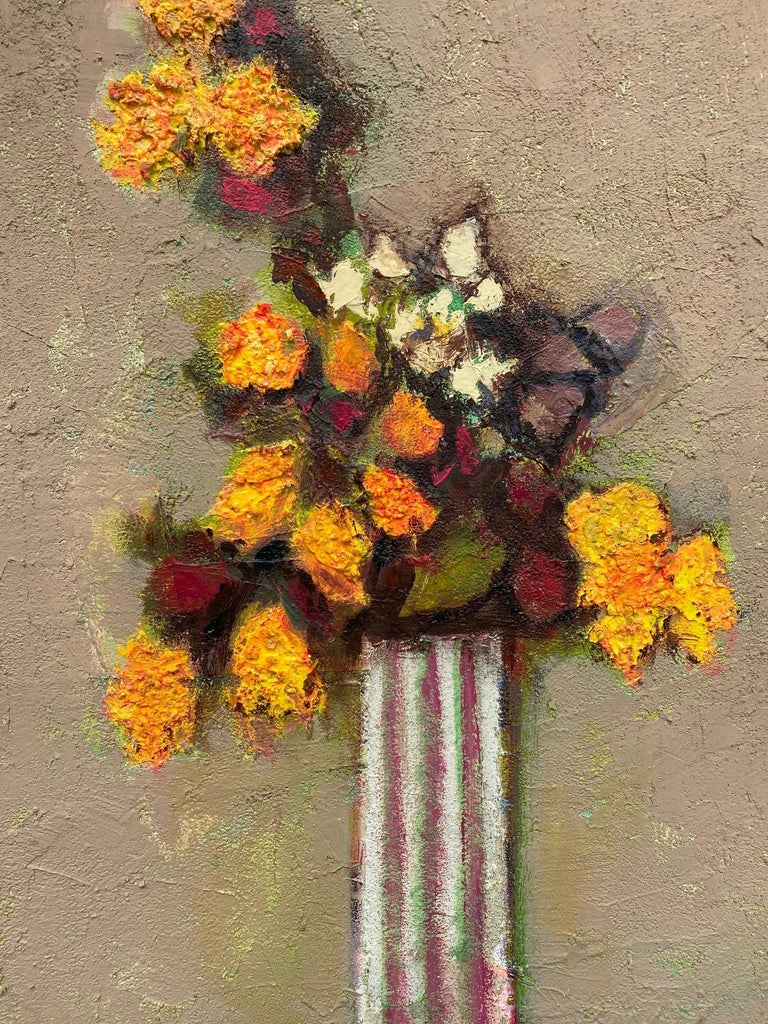 Texas Artist David Pryor Adickes, Floral Still Life / Mixed Media on Board In Good Condition In San Antonio, TX