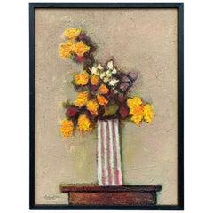 Texas Artist David Pryor Adickes, Floral Still Life / Mixed Media on Board