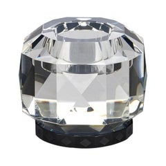 Texas Black Crystal T-Light, Hand-Sculpted Contemporary Crystal