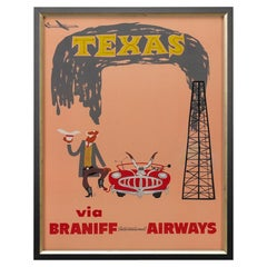 """Texas via Braniff International Airways"" Vintage Travel Poster, circa 1950s"