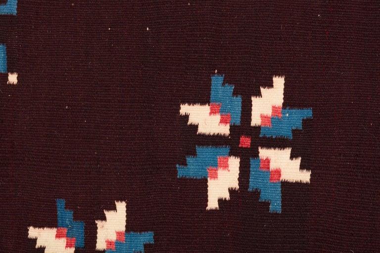 Tribal Texcoco Indigo Star Mexican Serape Wool Blanket For Sale