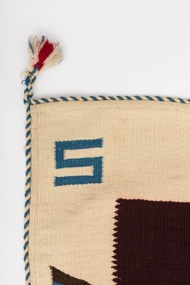 Texcoco Indigo Star Mexican Serape Wool Blanket In Good Condition For Sale In New York, NY