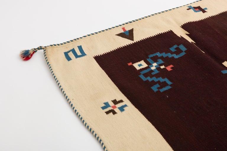 20th Century Texcoco Indigo Star Mexican Serape Wool Blanket For Sale