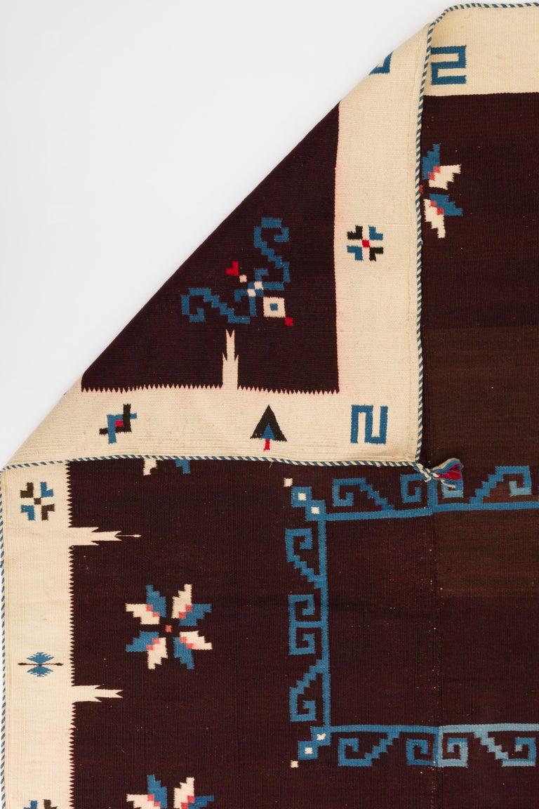 Texcoco Indigo Star Mexican Serape Wool Blanket For Sale 1