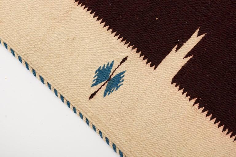 Texcoco Indigo Star Mexican Serape Wool Blanket For Sale 2