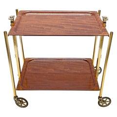 Textable Midcentury Foldable Trolley Mahogany and Golden Aluminium Bar Cart 1950