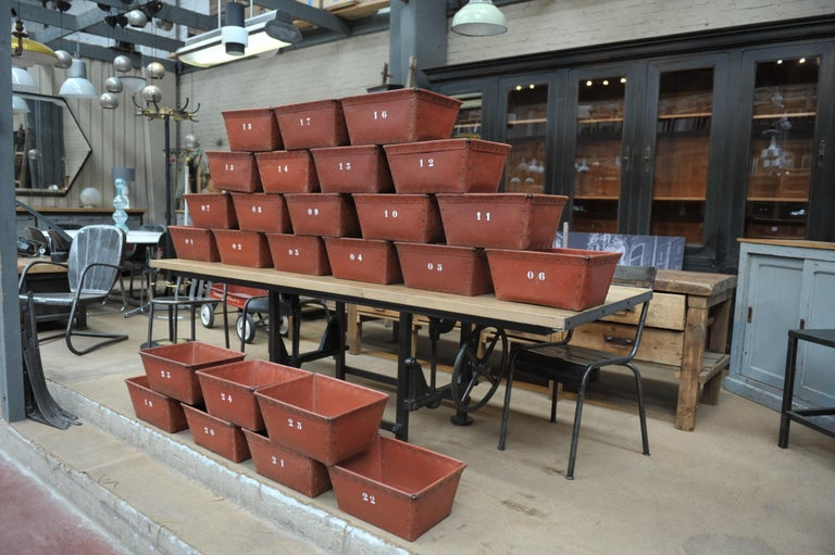 Textile Factory Industrial boxes by manufacturer Suroy (North of France) in dark red very strong boiled cardboard with rivets and iron circa 1950 sold minimum by 4 boxes.