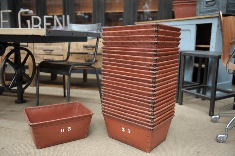 French Textile Factory Industrial Stack Able Boxes Bu Suroy 'FRANCE', circa 1950 For Sale
