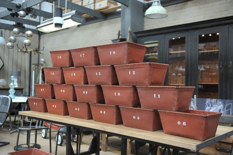 Mid-20th Century Textile Factory Industrial Stack Able Boxes Bu Suroy 'FRANCE', circa 1950 For Sale