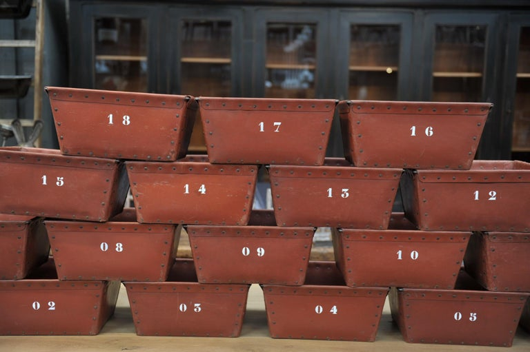 Metal Textile Factory Industrial Stack Able Boxes Bu Suroy 'FRANCE', circa 1950 For Sale