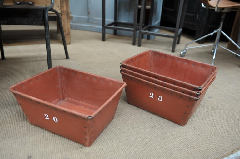 Textile Factory Industrial Stack Able Boxes Bu Suroy 'FRANCE', circa 1950 For Sale 2