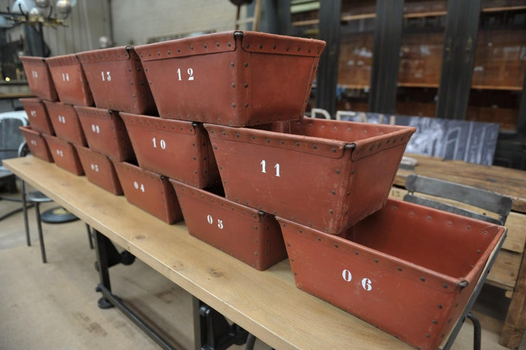 Textile Factory Industrial Stack Able Boxes Bu Suroy 'FRANCE', circa 1950 For Sale 3
