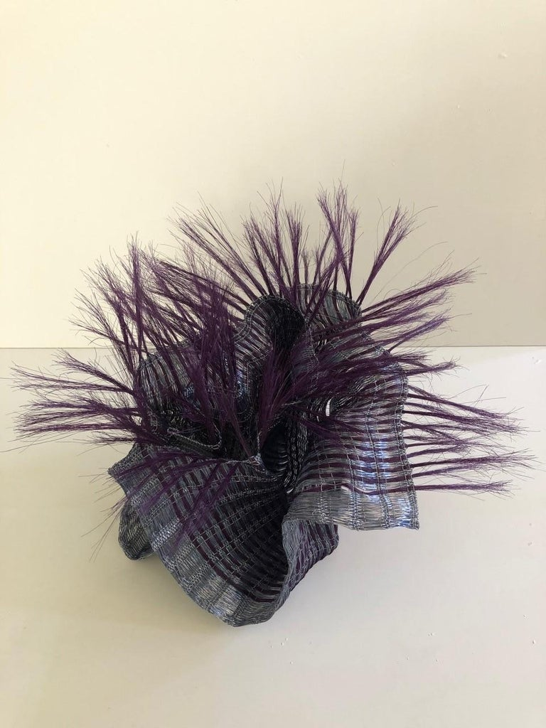 Coral (purple) textile sculpture Annemette Beck, Stainless steel, lacquered copper thread and horse hair, 50 x 50 x 38cm , entirely hand woven , unique piece entirely handmade in Denmark.